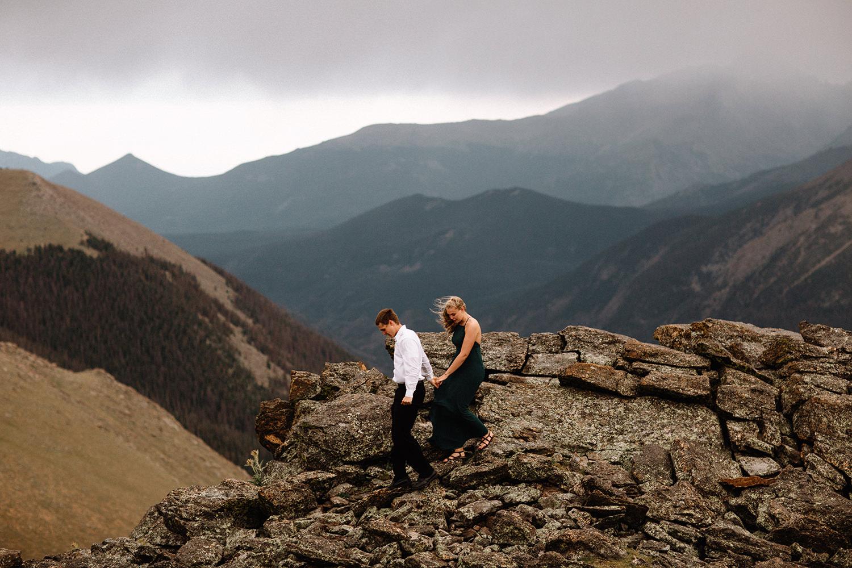 Rocky Mountain Engagement National Park Engaged Photos Wedding Elopement Portrait Mountains Trail Ridge Rd Peak Alpine Dress Lulus Rules Permit Photo Adventure Love Couples Destination Liz Osban photography Cheyenne Wyoming26.jpg