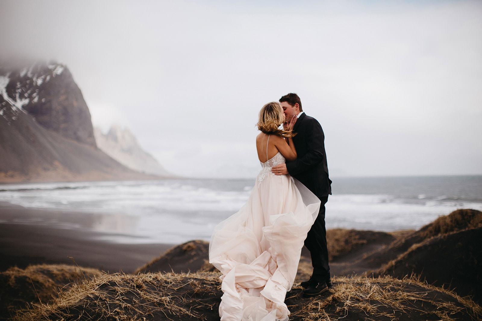 Icelandic Iceland Elopement Wedding Elope Photographer Eloping Reykjavík Vik Black Sand Beach Jökulsárlón Skogafoss Waterfall Vestrahorn Mountain Liz Osban Photography Destination 25.jpg