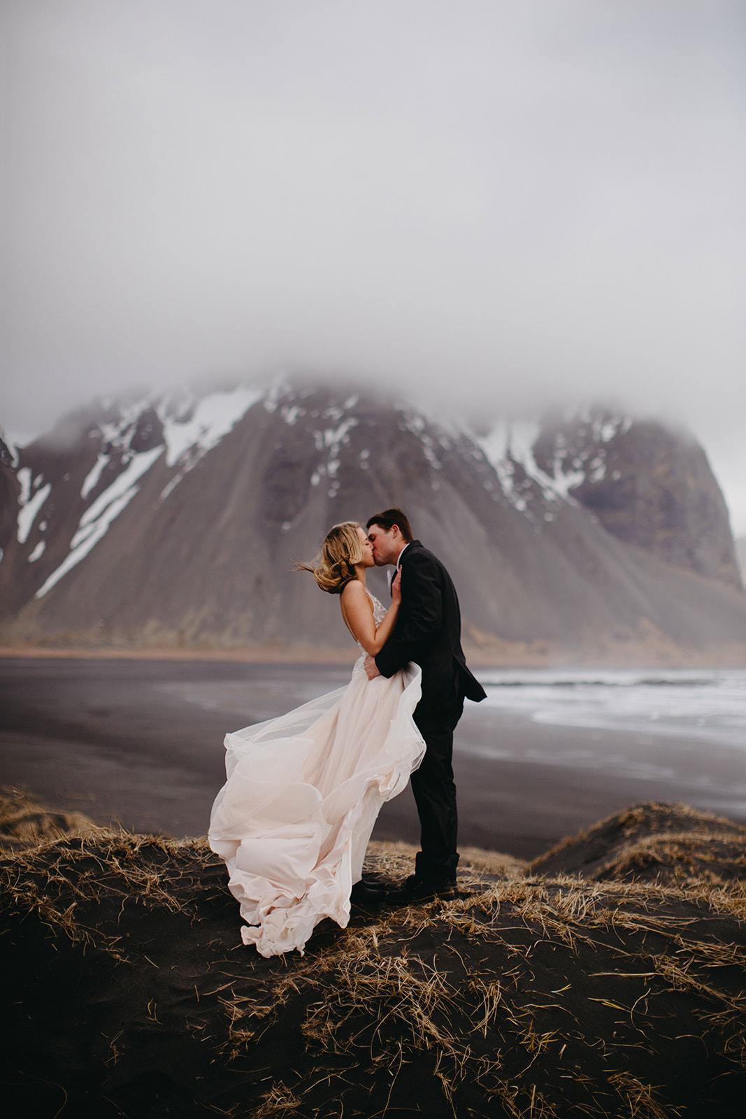 Icelandic Iceland Elopement Wedding Elope Photographer Eloping Reykjavík Vik Black Sand Beach Jökulsárlón Skogafoss Waterfall Vestrahorn Mountain Liz Osban Photography Destination 30.jpg