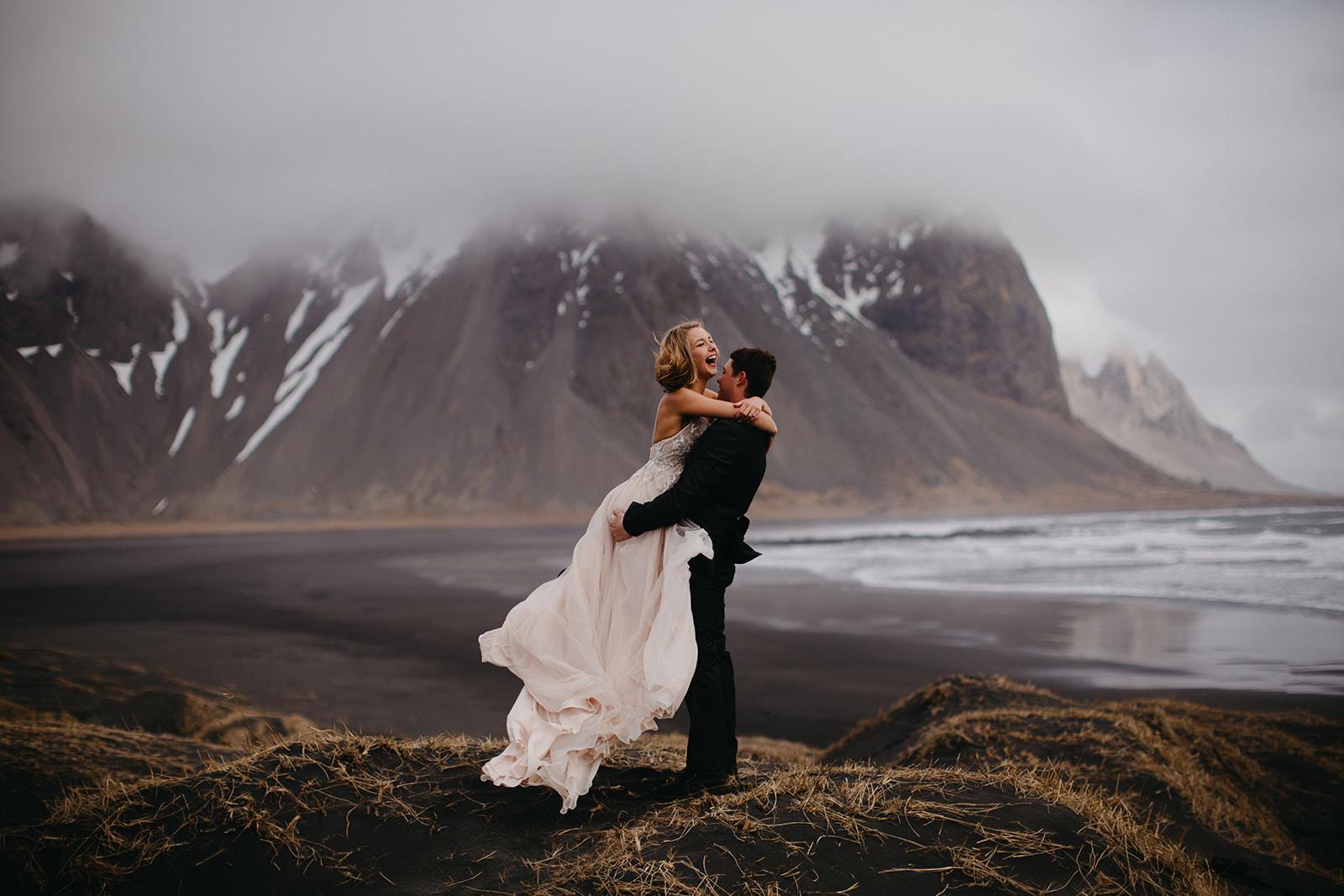 Icelandic Iceland Elopement Wedding Elope Photographer Eloping Reykjavík Vik Black Sand Beach Jökulsárlón Skogafoss Waterfall Vestrahorn Mountain Liz Osban Photography Destination 32.jpg