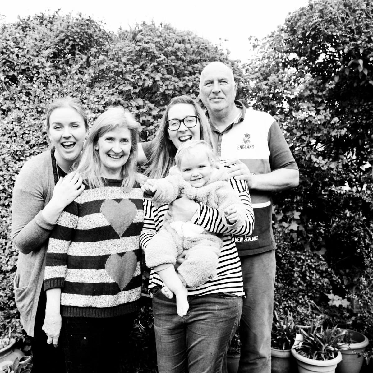 The Parker Family, shot on a Hasselblad (film) Camera with Ilford FP4