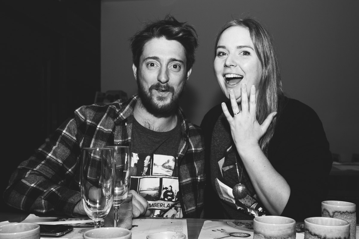 My Wife Becky and me! I got a friend to take a picture at the surprise engagement meal I planned. There's even a blog post on it  here