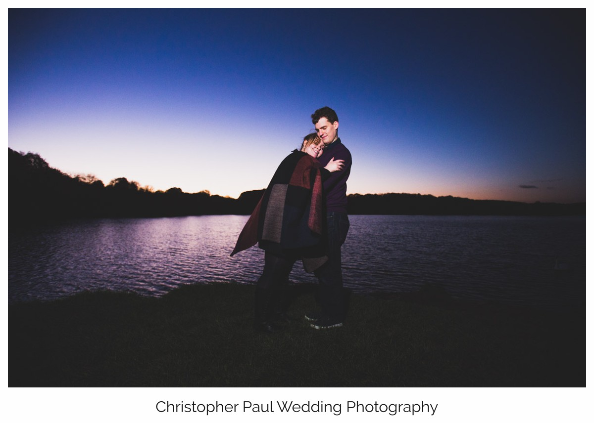 We watched the sunset go down at Cosmeston Lakes in Penarth, it's a great place to shoot engagement photographs before the wedding.