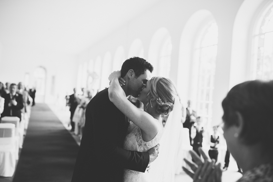The moment the bride and groom are officially husband and Wife at The orangery in Margam Park Wales