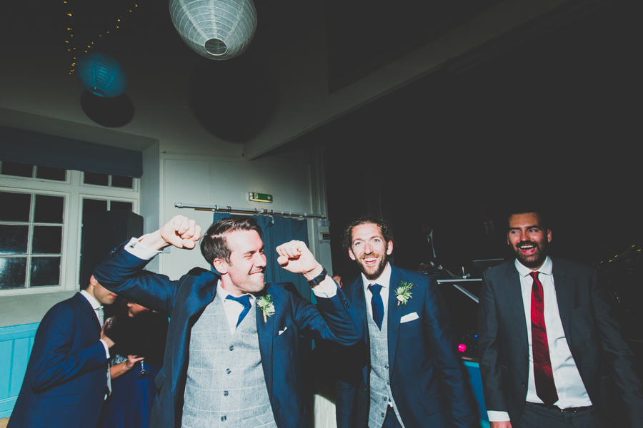 groomsmen getting crazy and into the party in cornwall