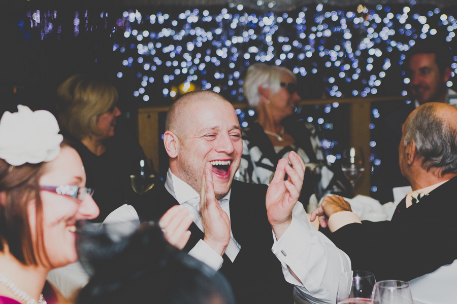 A guest laughing at the wedding speeches St Brides Spa Hotel Wedding