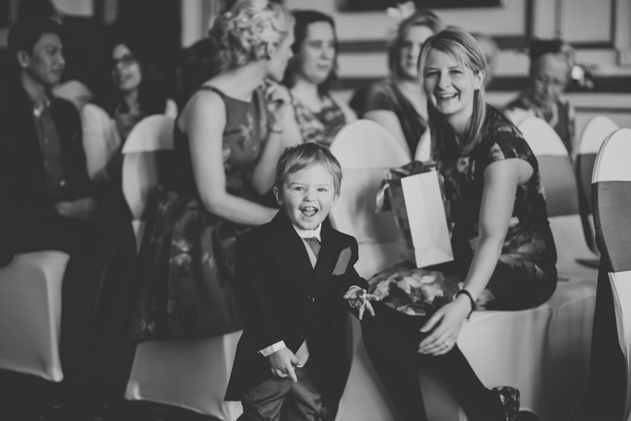 A curious page boy at the is Brecon Wedding