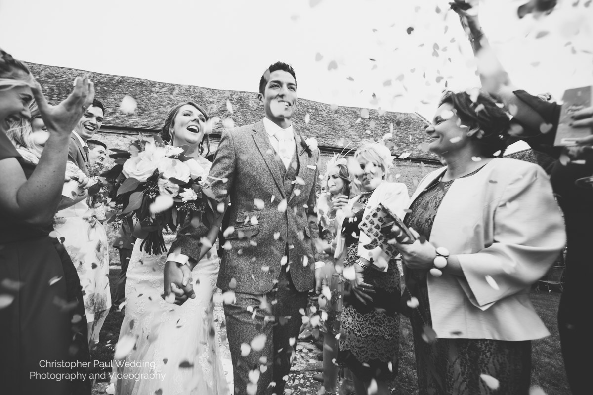 Black and White Confetti Photo from South Wales