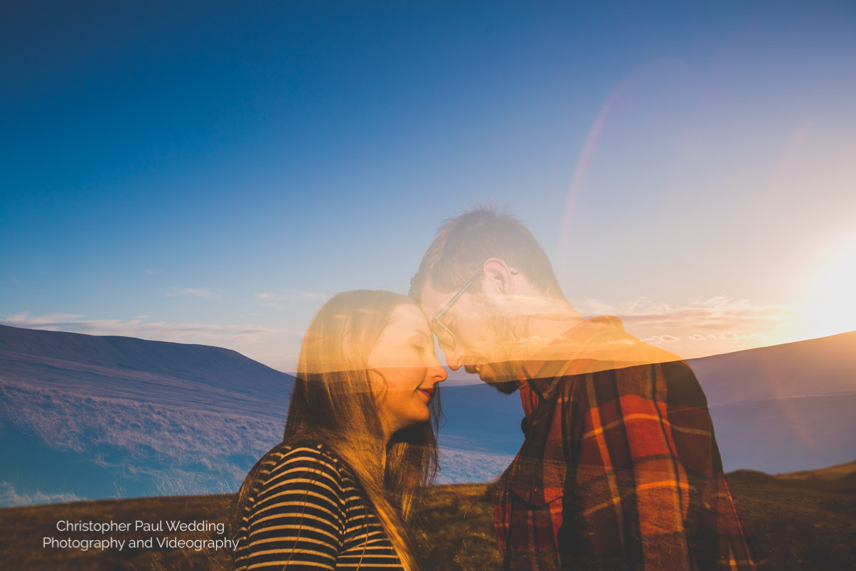 This beautiful couple take a moment to themselves against the stunning  south wales mountains  backdrop for their portrait photographs
