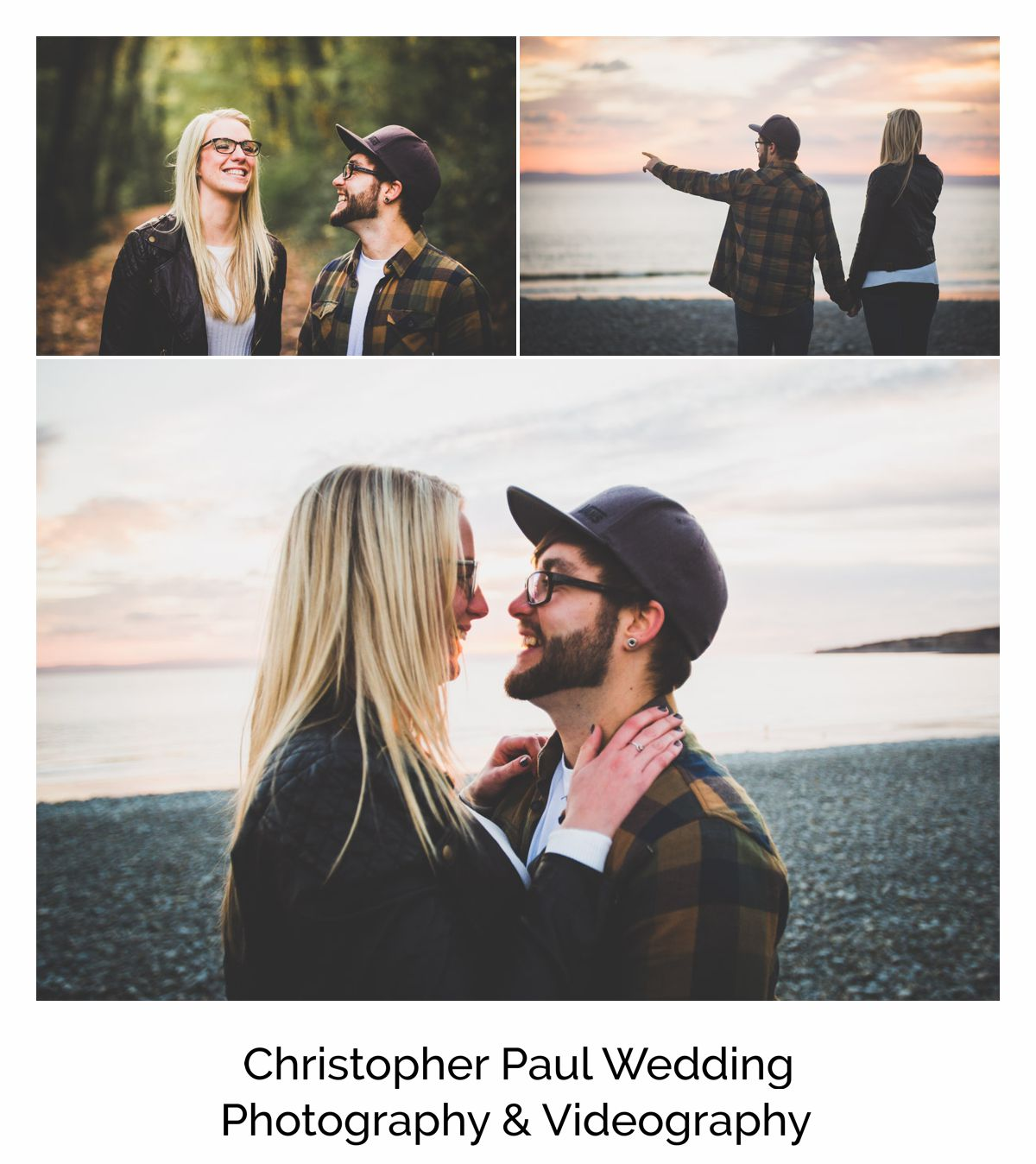 The happy couple on their engagement shoot in Barry, South Wales, Beautiful emotional smiles with a sunset before their  Canada Lake and Lodge Wedding