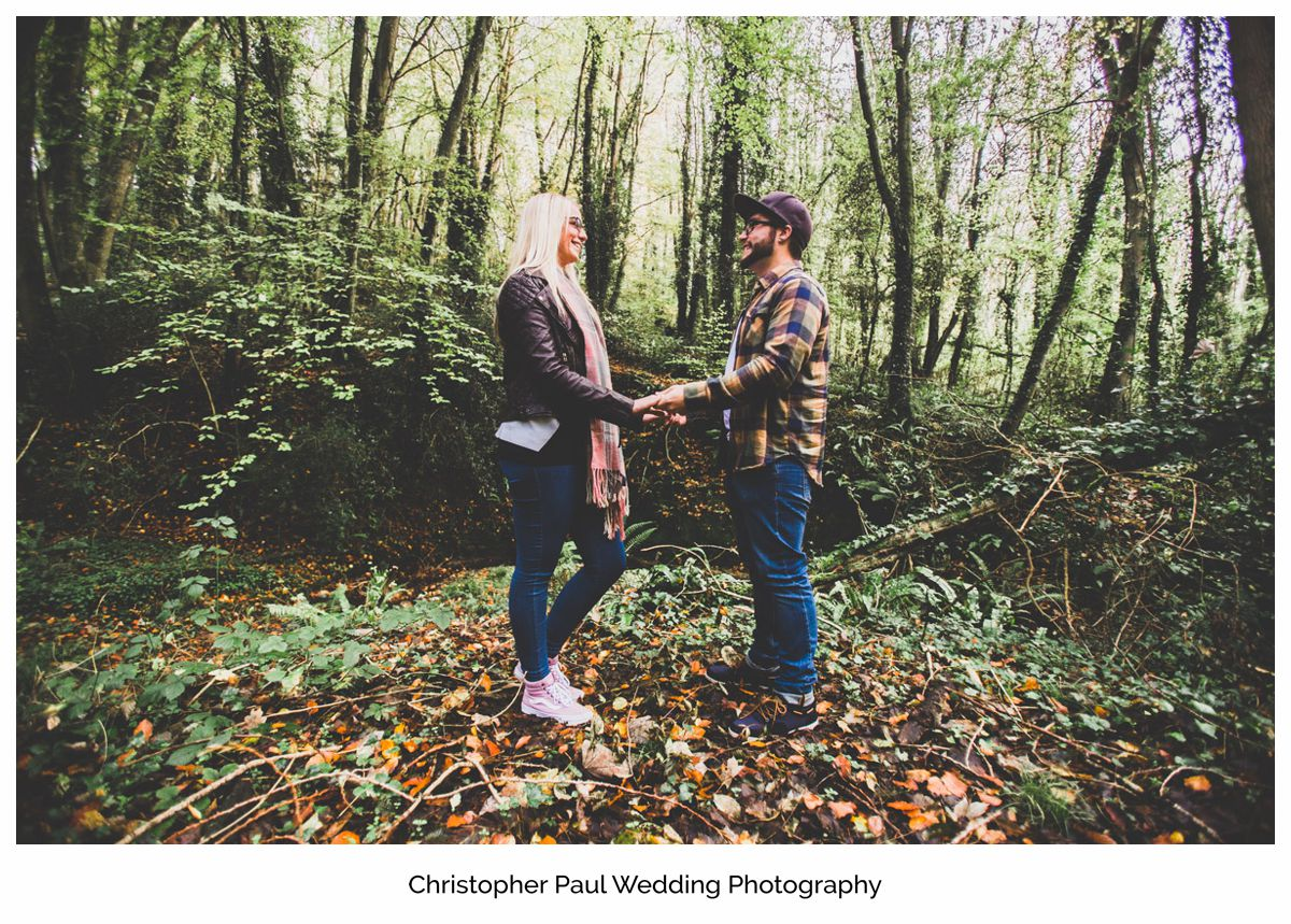 South Wales Wedding Photography Engagement Session _1202_Two lovers spend a moment together in the woods
