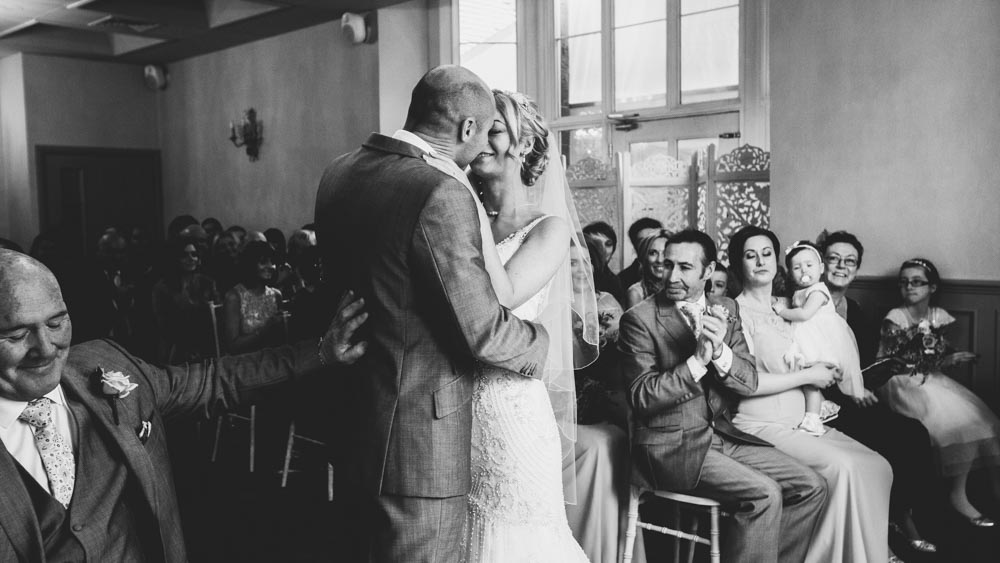 The excited couple are now husband and wife   South Wales Wedding Photos