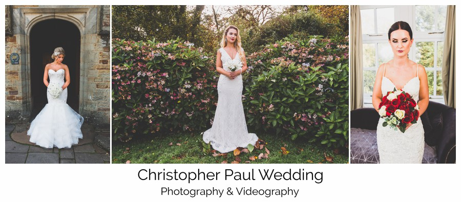 A selection of wedding dresses shot at south wales wedding venue  Bryngarw House