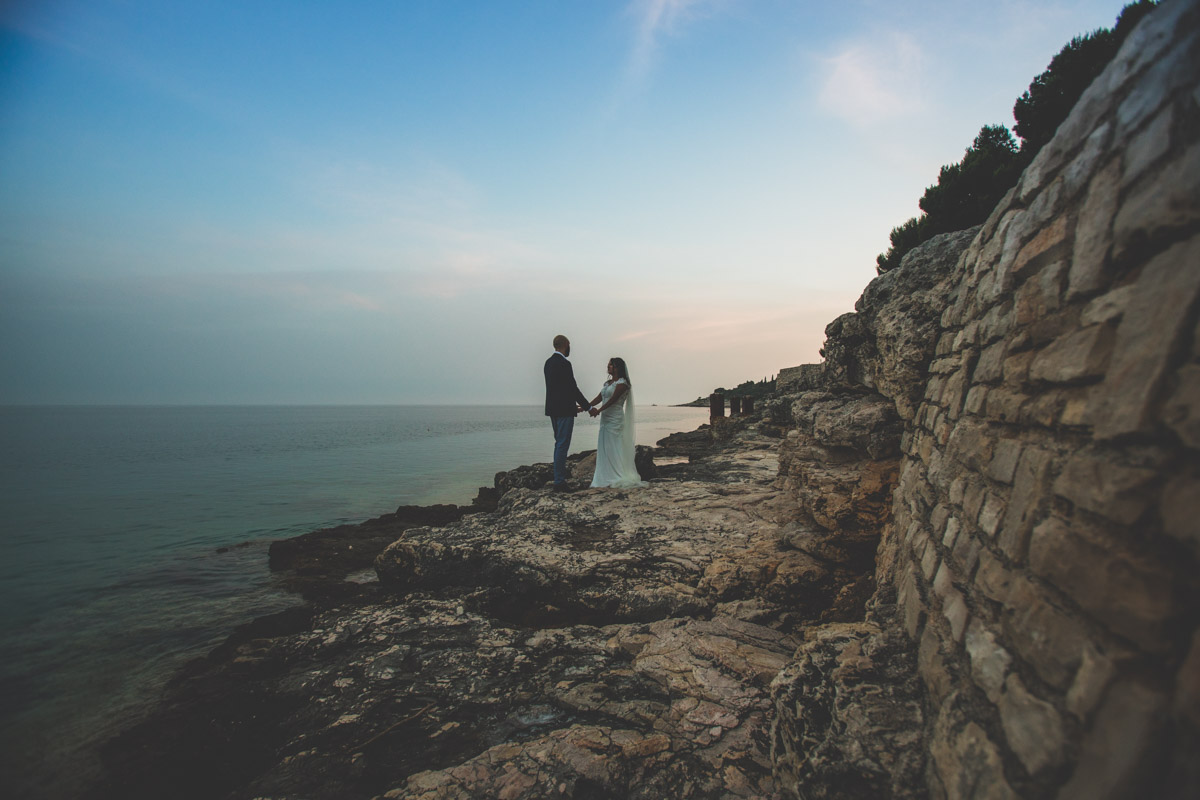 The coast line in Pula is stunning, a great place for a bride and groom to watch the sunset roll in on their wedding day.