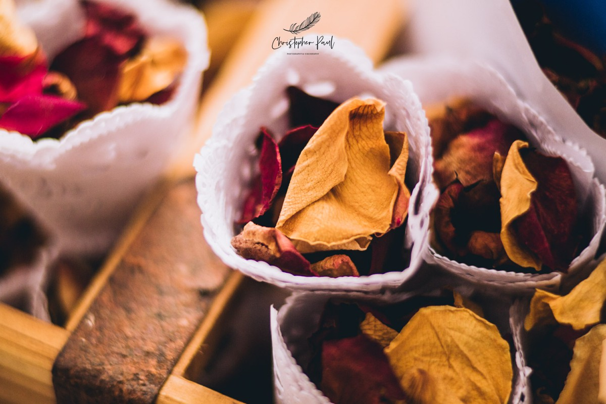 Autumn Wedding Flowers and Confetti