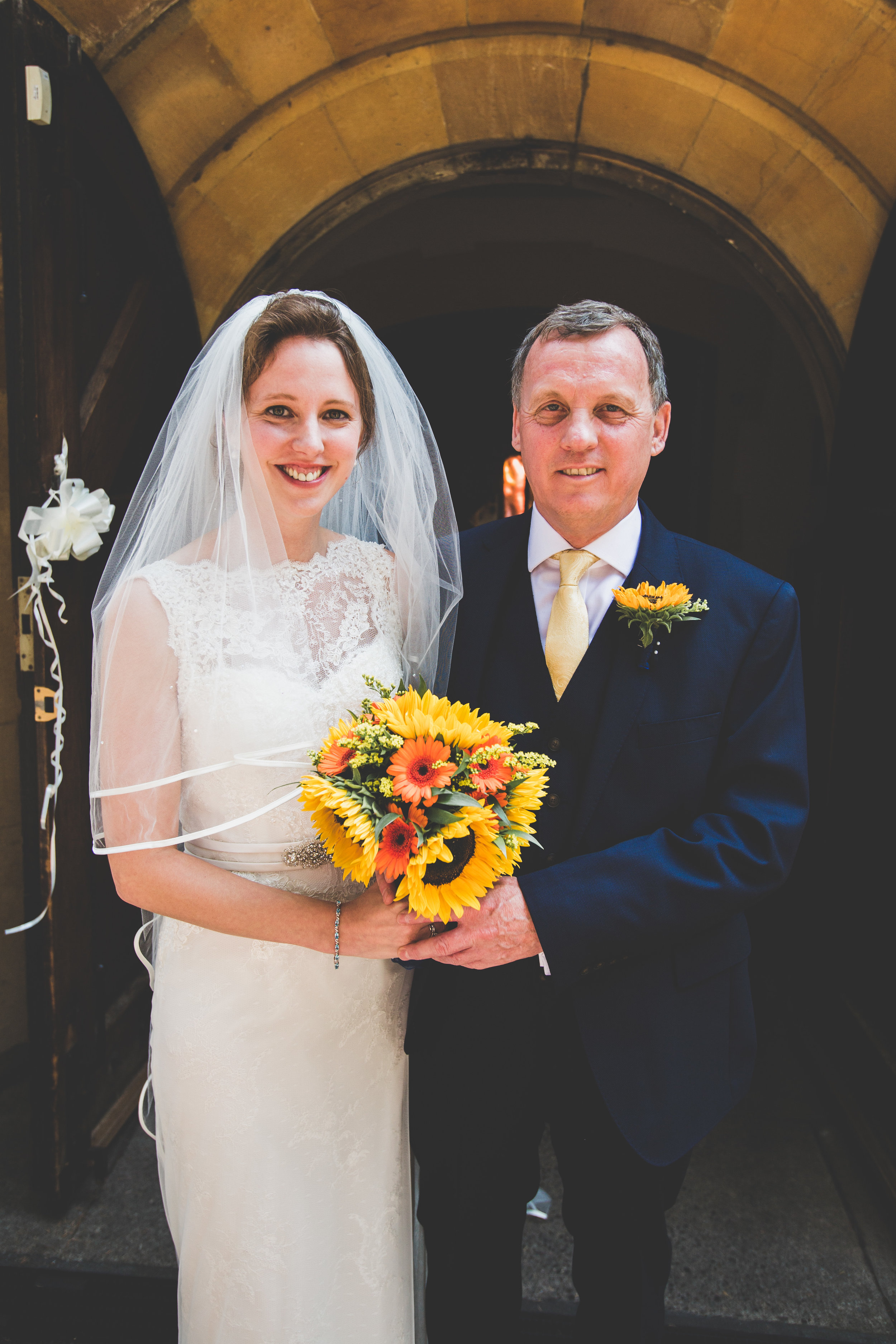 Bride and her Dad at her summer wedding