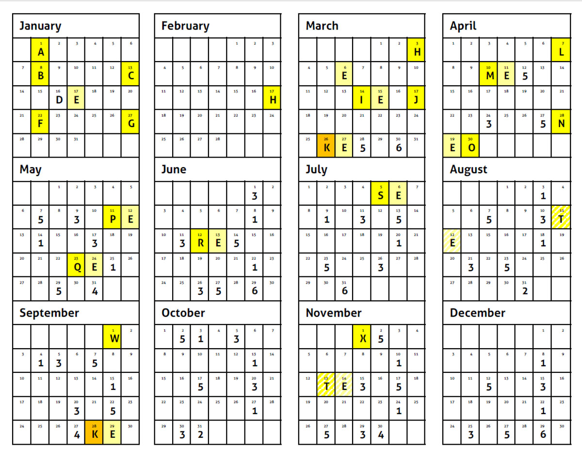 Benefits Calendar - Year 1 & 2