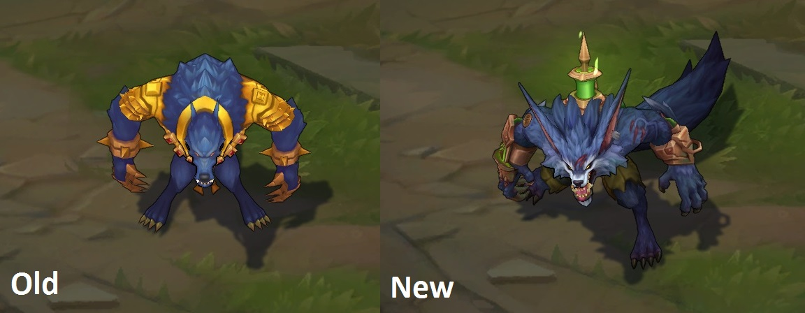 Warwick, before and after his visual and gameplay update