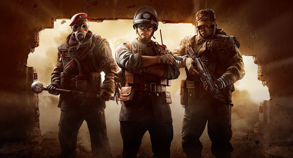 Three characters in their elite skins, from Left to Right: Sledge, Thermite, and Kapkan