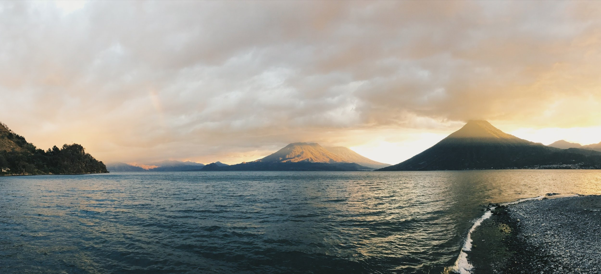 Lake Atitlan and her volcanoes from the dock at Hostel del Lago