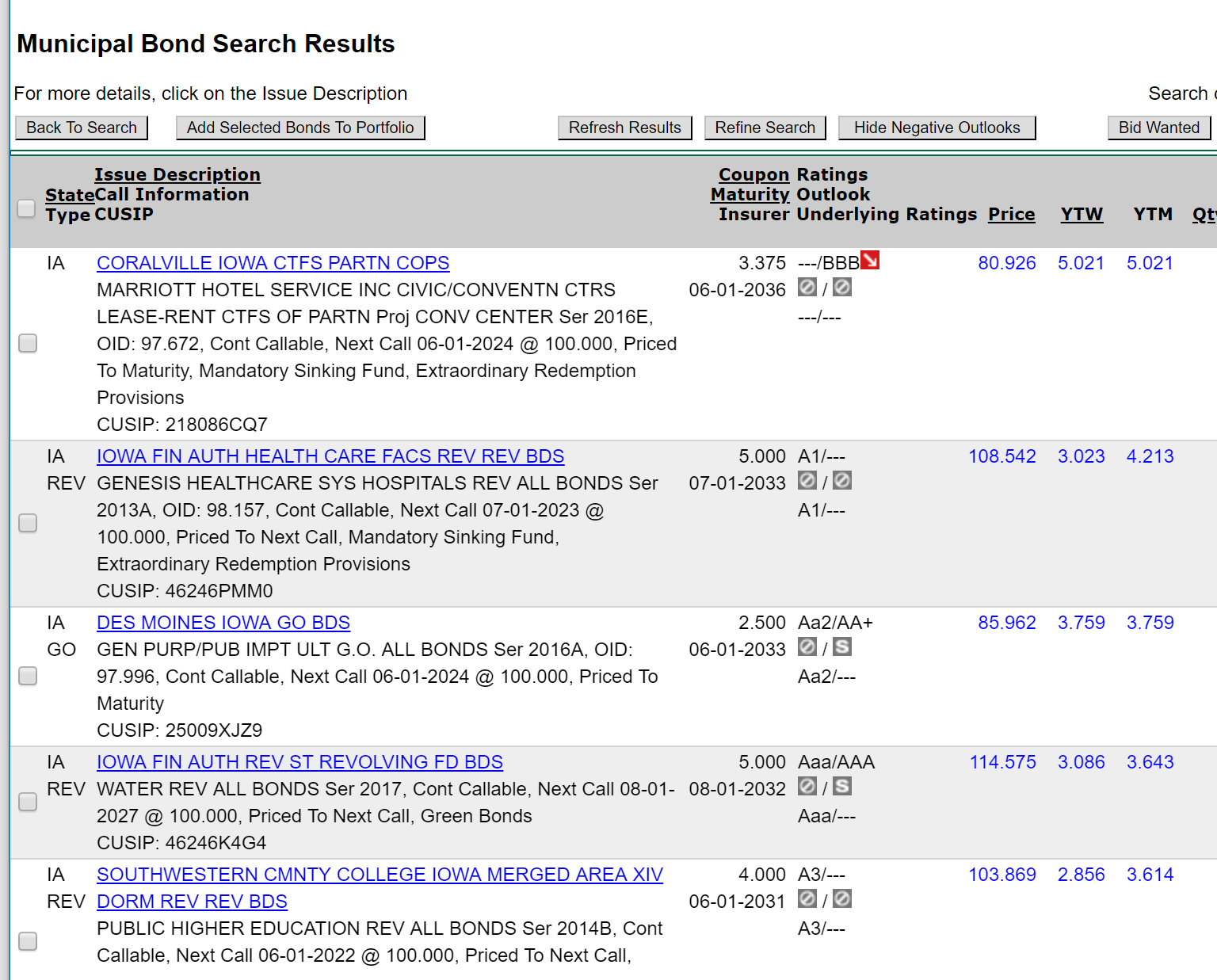 Iowa municipal bond search