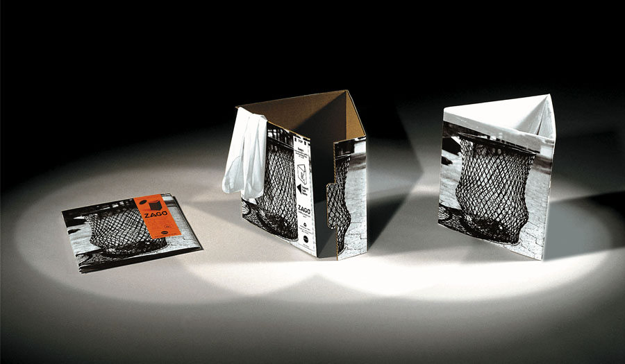 Zago Best recycled bin trash can design cardboard