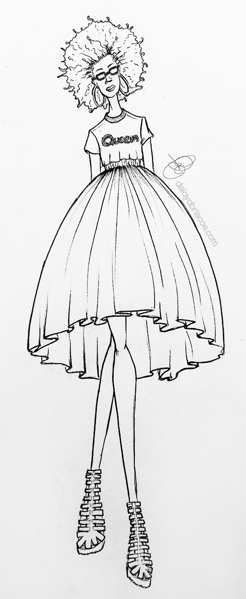 queen-rhinestone-tee-black-tutu-Marker-sketch