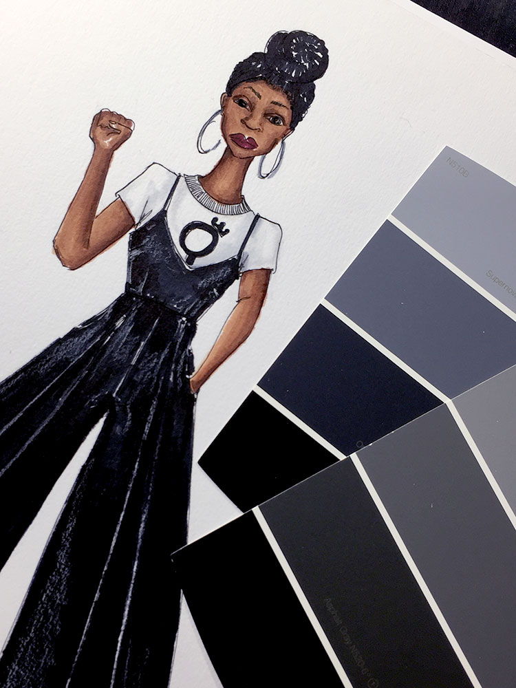 Fashion designer, Delaya Briscoe, designs the new wide legged leather jumper and pro feminism graphic t-shirt for the next generation black panther after being inspired by Black Panther the movie.