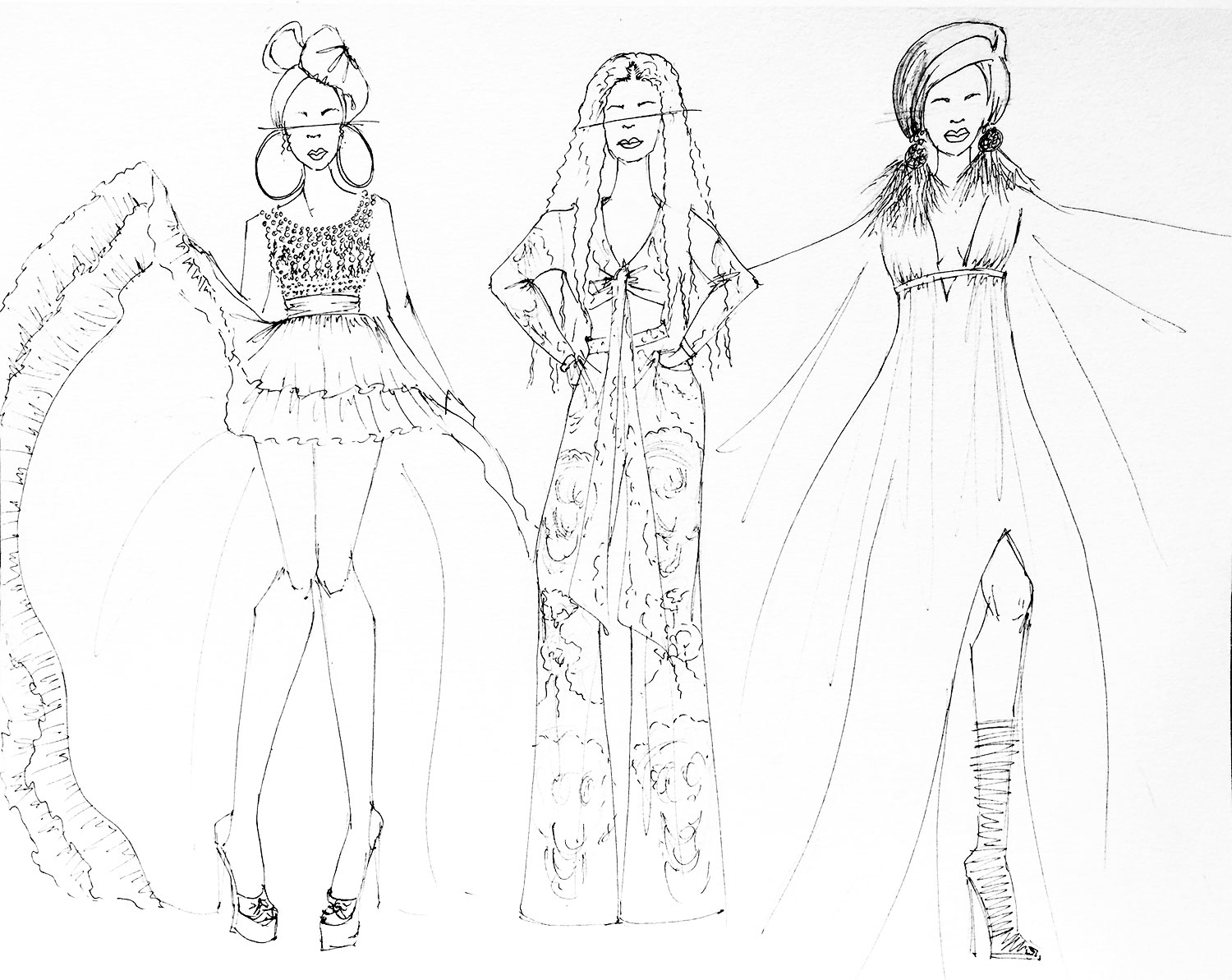 "Fashion illustration of Cardi B. from her ""I Like It"" music video off of the  Invasion of Privacy  album by fashion designer and illustrator, Delaya Briscoe."