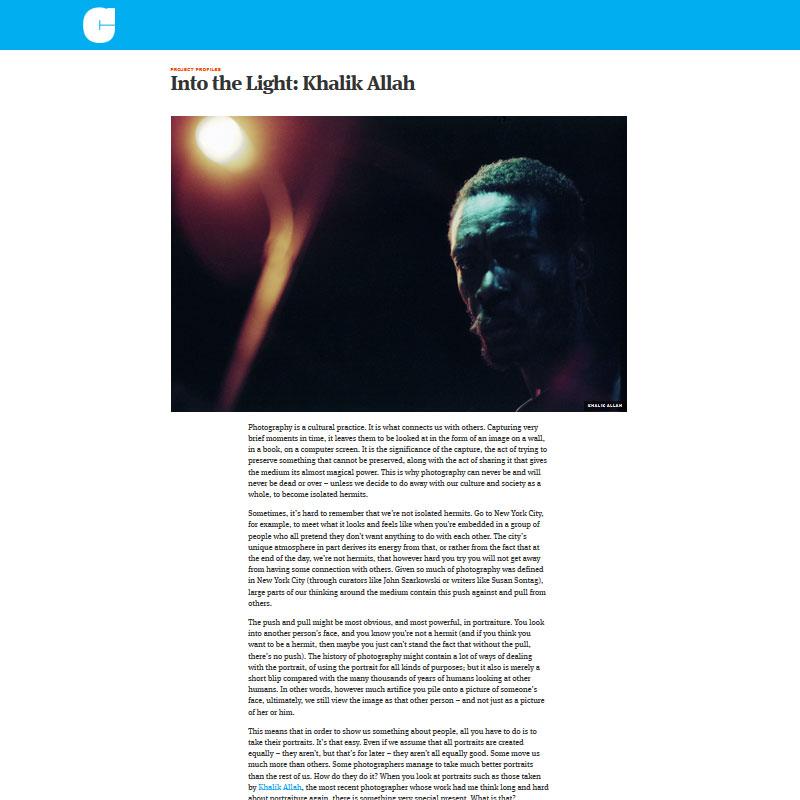 Into the Light •Khalik Allah Written by Jörg M. Colberg