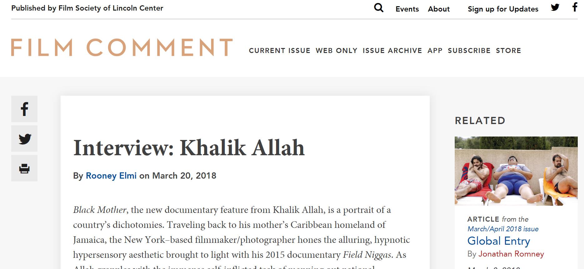 Rooney Elmi    interviews Khalik Allah for Film Comment
