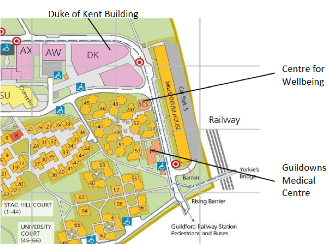 University of Surrey|Stag Hill Campus|Wellbeing Map