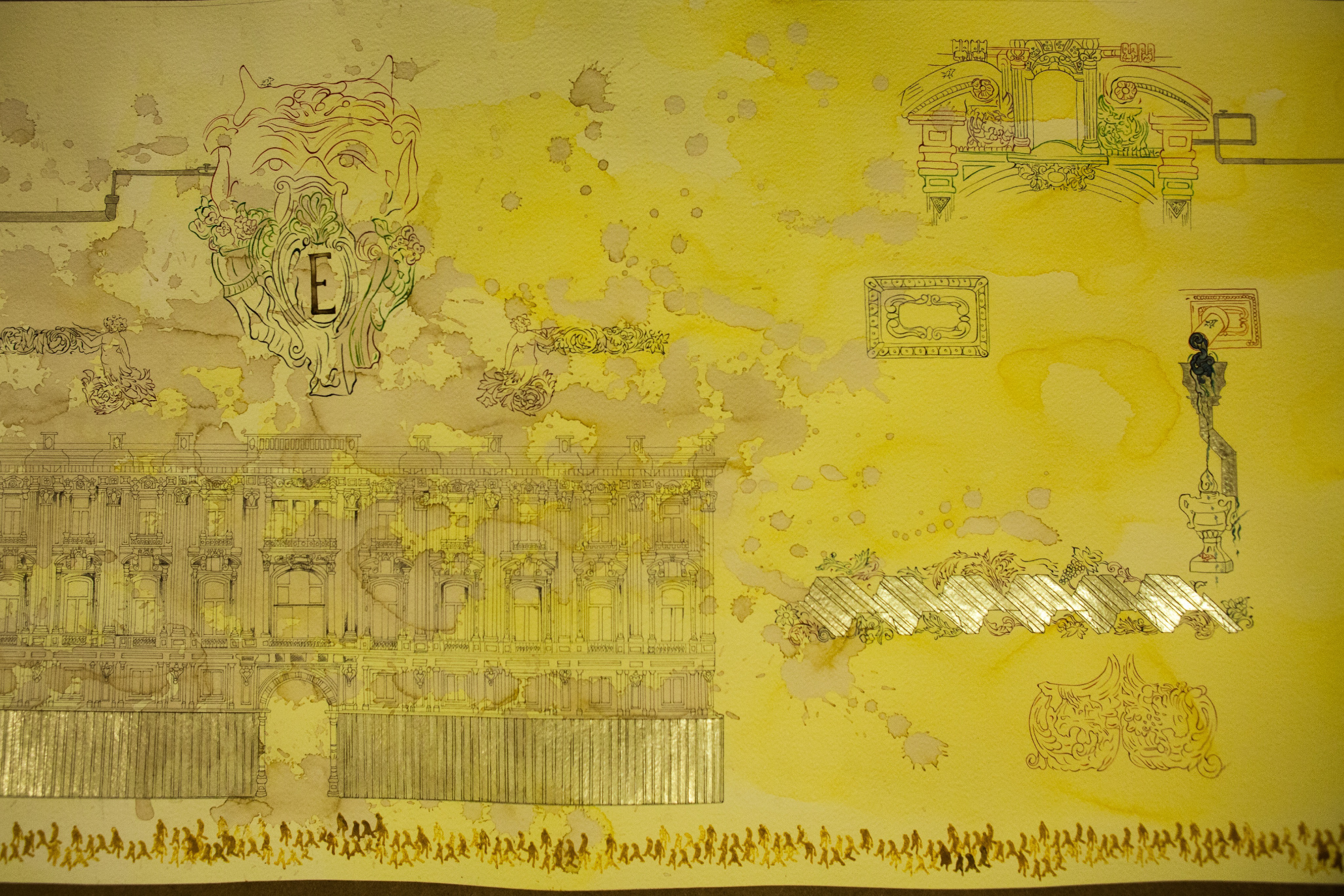 Cansu Çakar, Himenoplastik Panorama, detail, 2015,  watercolour, ink, safran, nigella and gold on paper