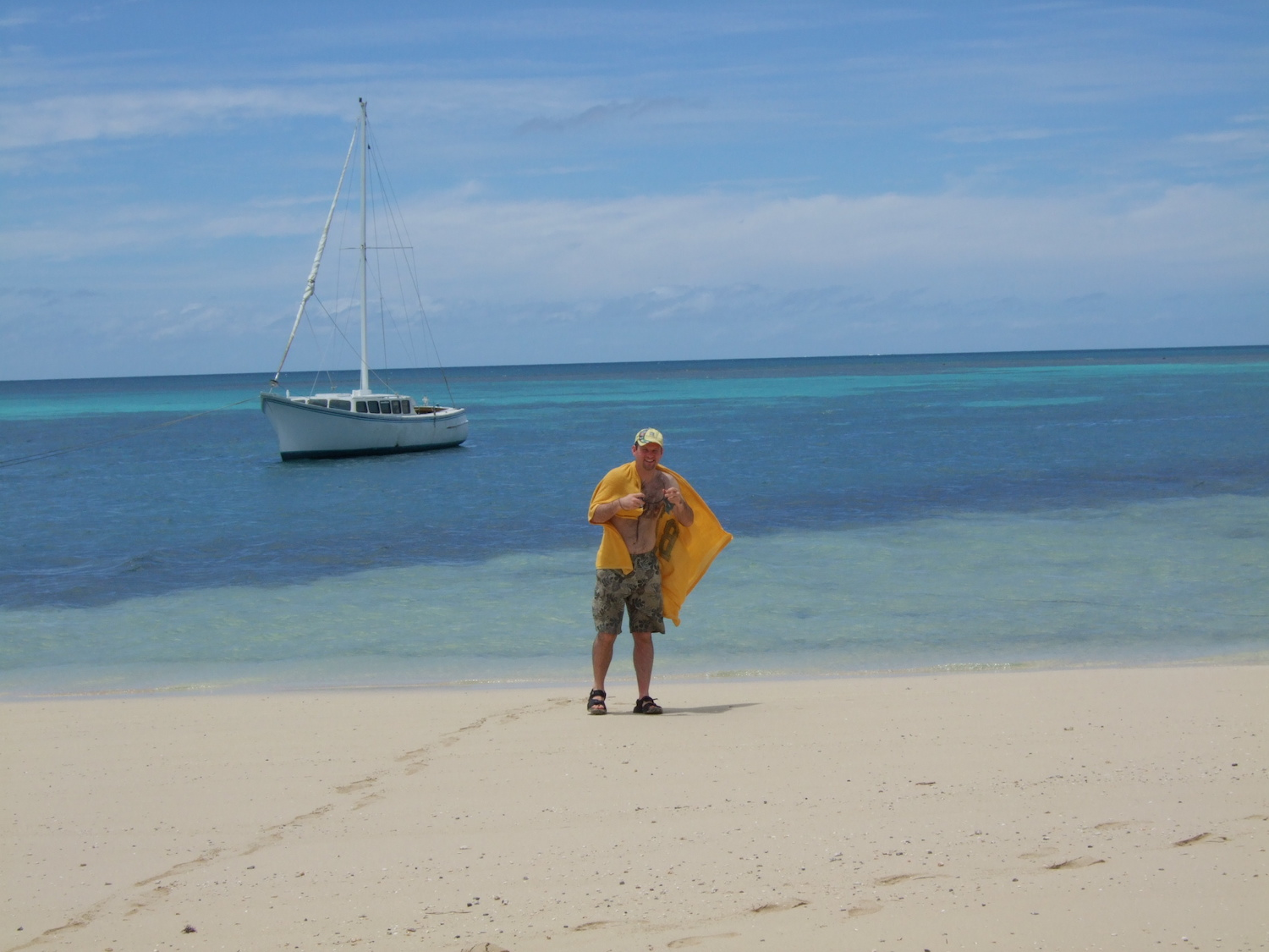 Pic: Ruining a perfectly good seascape - the author at Fafa Island Resort