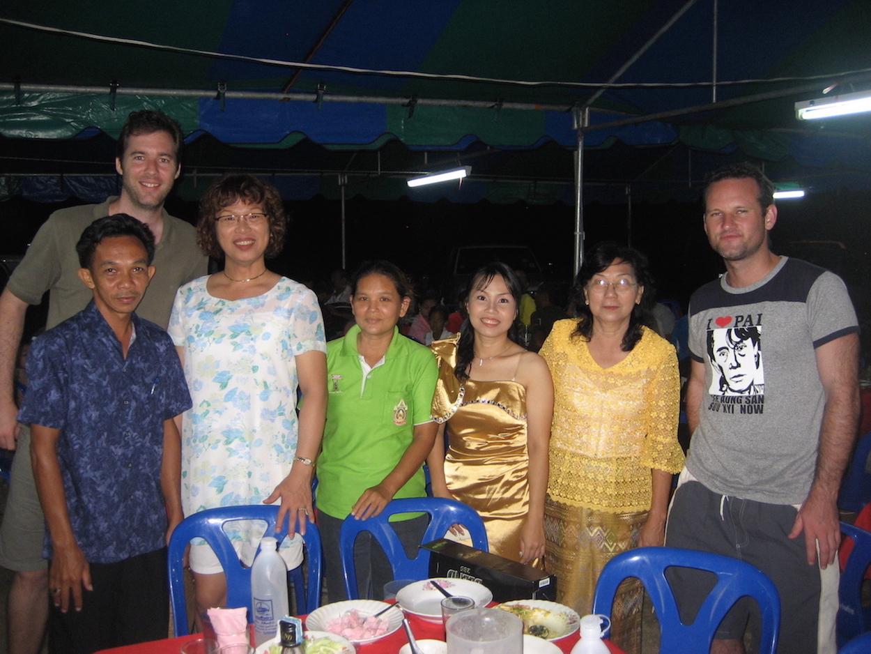 Pic: Thai wedding guests -Aoi's friend, Tom, Aoi, wedding guest, the bride, the bride's mum, the author