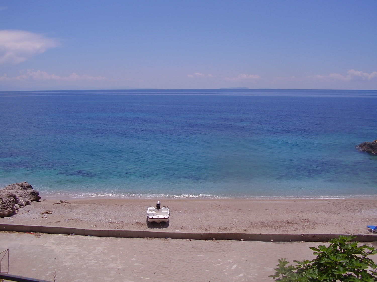 Pic: Easier on the eye than the cryptic menu: View from the restaurant, Dhërmi Beach