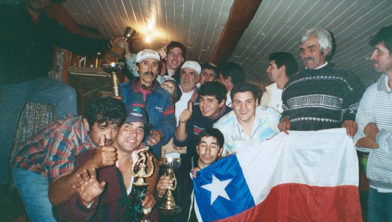 Pic: The enthusiastic (and patriotic) members of the Rayuela Club of Pucon, Chile