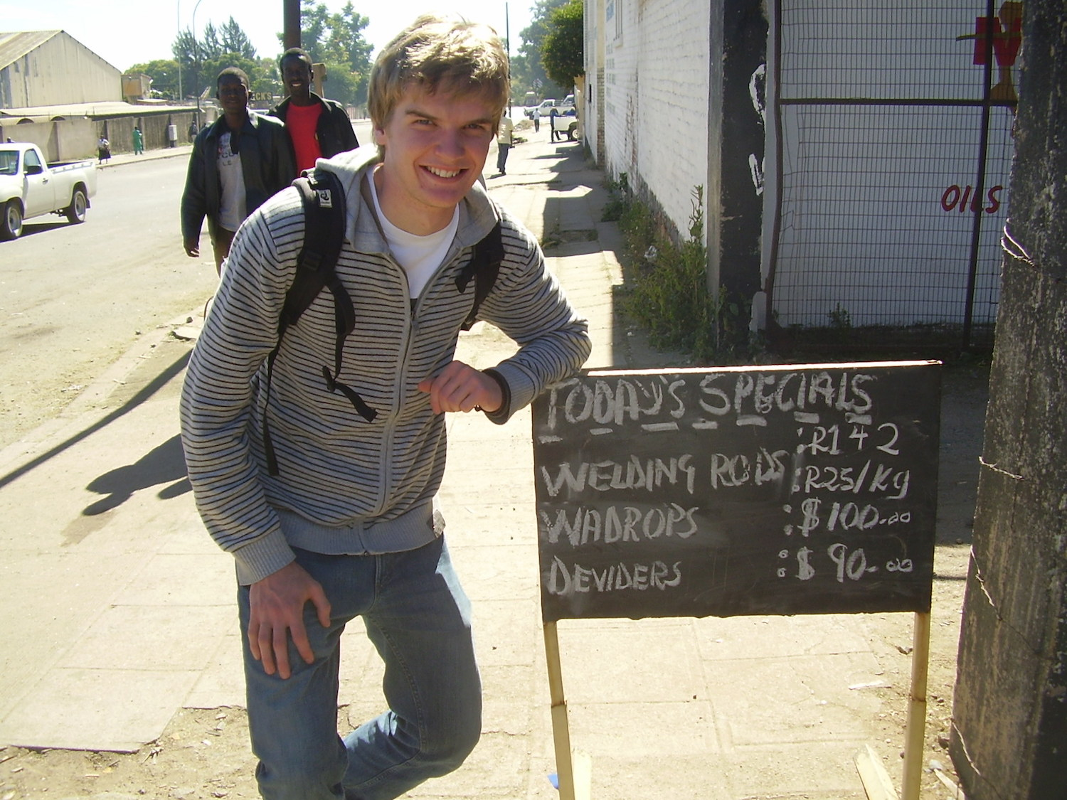 Pic:Fabian finds some deals on hardware products in Bulawayo. Note the first two prices are quoted in South African Rand, the next two in US Dollars.