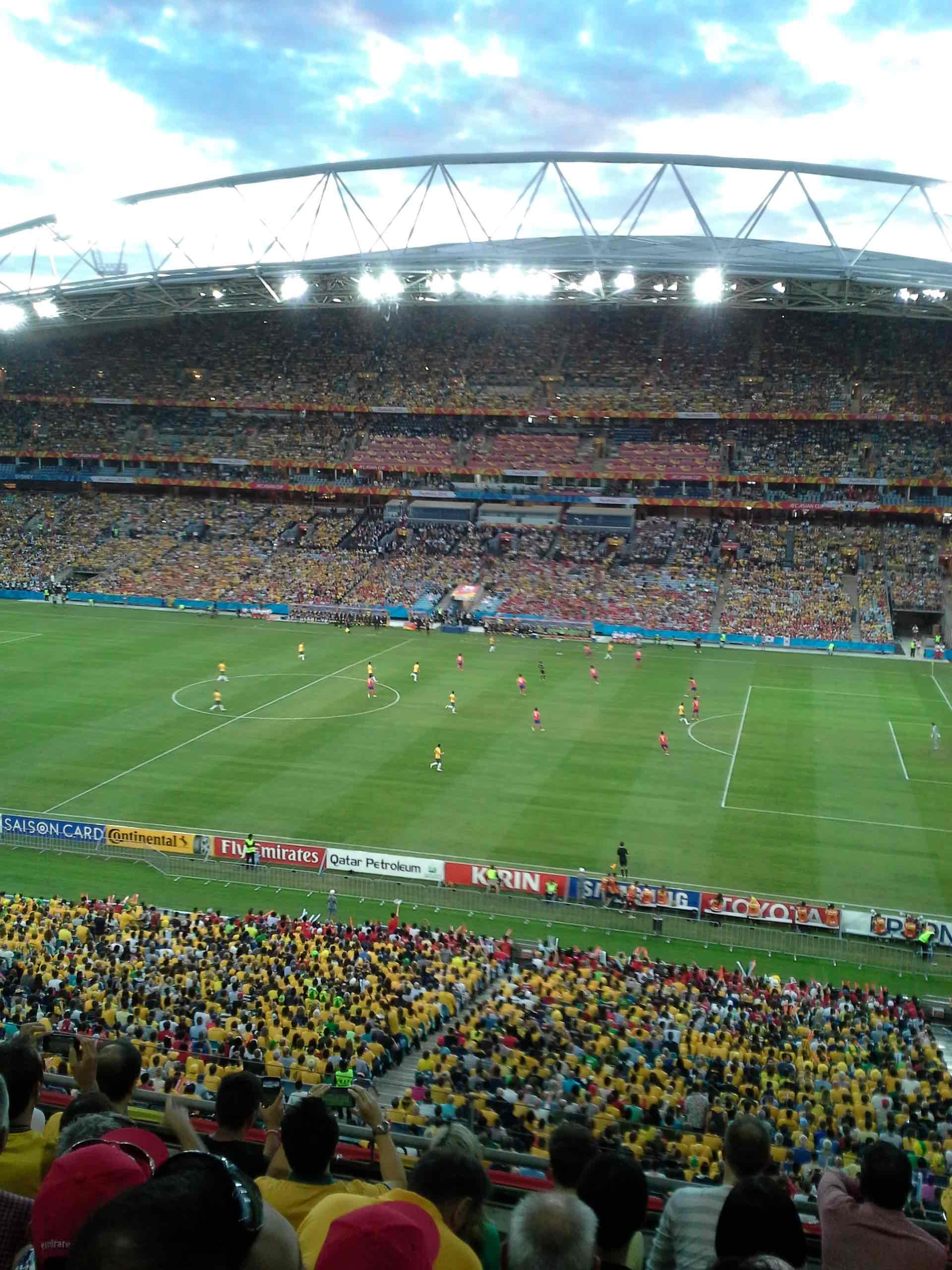 Return Leg Venue - ANZ Stadium, Sydney, Australia during 2015's Asian Cup Final against South Korea. Much fewer Green and Gold shirts are expected for Australia's Friday November 10 clash against hosts Honduras in San Pedro Sula.