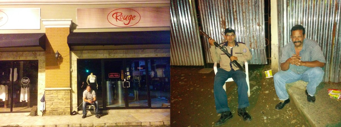 Both armed and unarmed men guard establishments close to the Socceroos' hotel