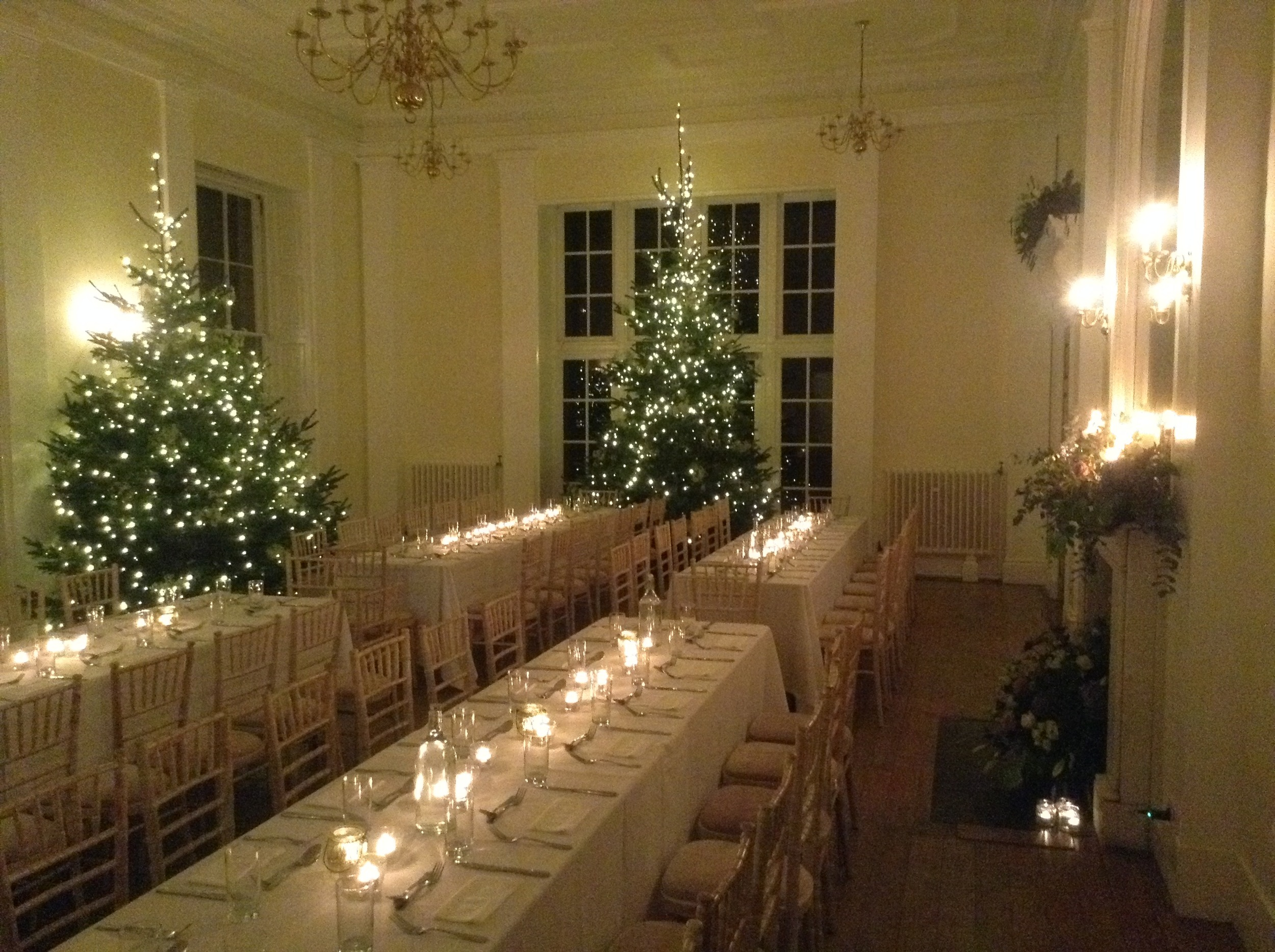 The christmas trees around the venue were 4 metres high and decorated with thousands of fairy lights and glitter gypsophila.