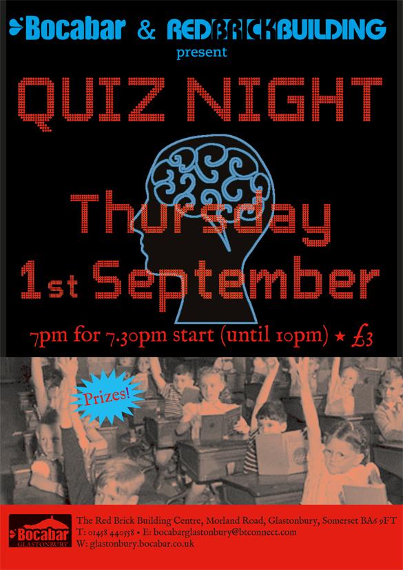 Quiz Night, Thursday 1st September. 7pm for 7.30pm start (until 10pm). £3 entry.
