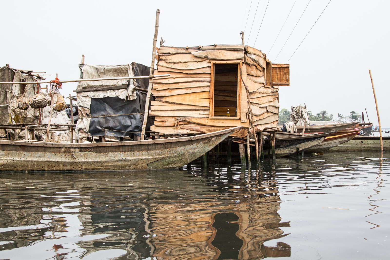 With limited space on land, the community has built onto the water. Following the mass evictions of another waterfront community, Otodo Gbame, the population of Sogunro swelled as many evictees were accommodated.