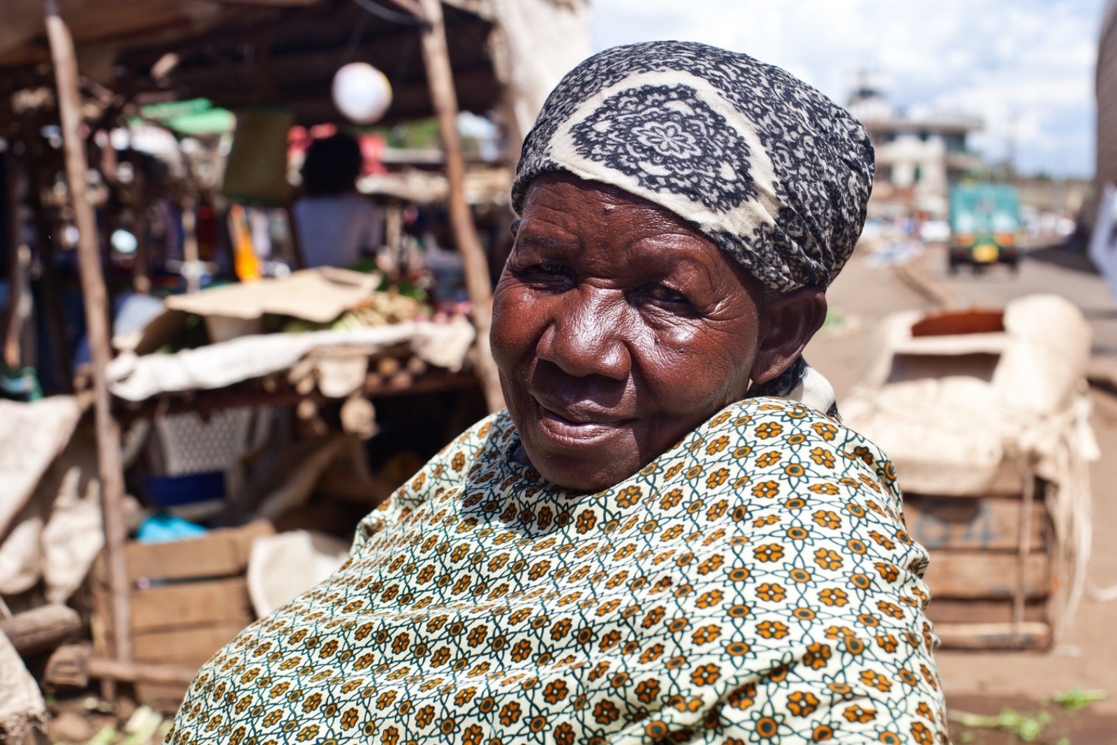 """Wilkista  fears what will happen if she is evicted from Kondele.   """"I am old, if we are moved I will just have to do business on my doorstep, but there won't be as many customers""""."""