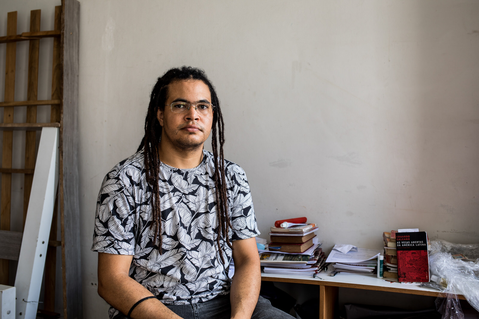 Wagner Moreira a leader from the MSTB social movement (Movimento Sem Teto da Bahia -  Homeless Movement of Bahia ) in his room in the occupation.