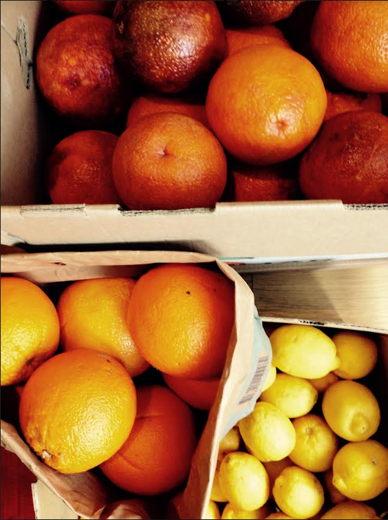 Boxes and boxes of oranges, lemons and my favourite Blood Oranges.  After weeks and weeks of freezing winds and rain, these are the things that are lifting my spirits - boxes of sunshine that can be made into the most delectable marmalades, juices and cordials.  This weekend's markets - eggs, bacon, ham, radishes, kale, apples, rhubarb, yogurt, organic chocolate, handmade cheeses, gourmet mushrooms, armloads of beautiful flowers and more. Everything you need can be found in local farmer's markets. Support small growers and producers whenever you can.  Hanging out for summer !
