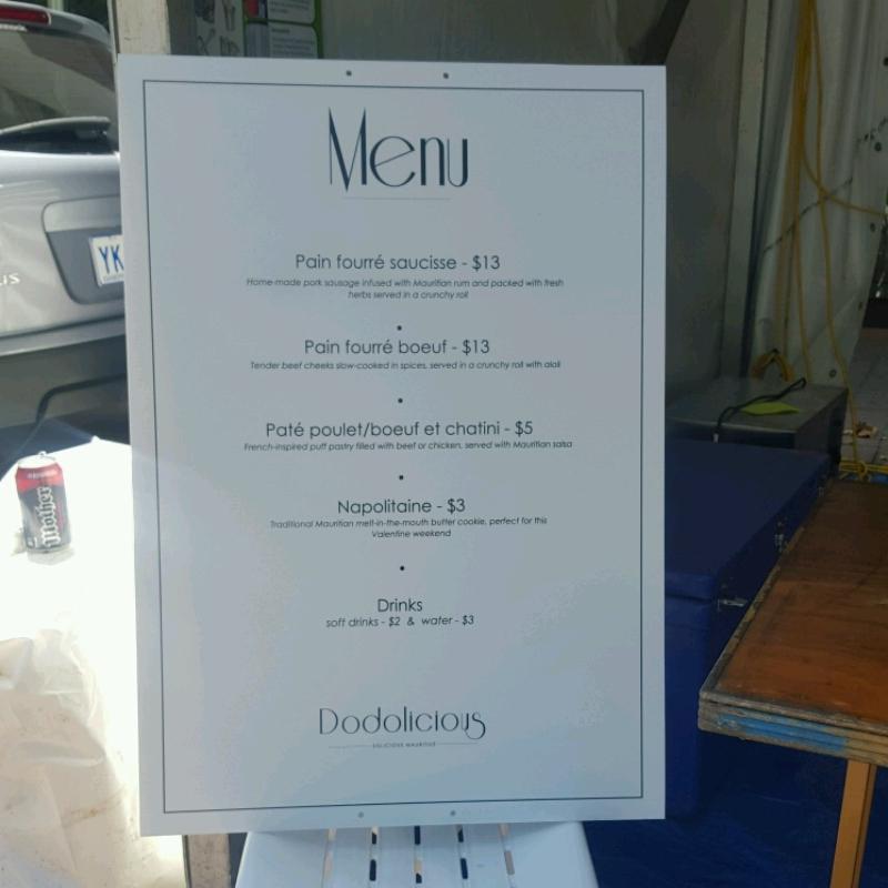 Dodolicious menu