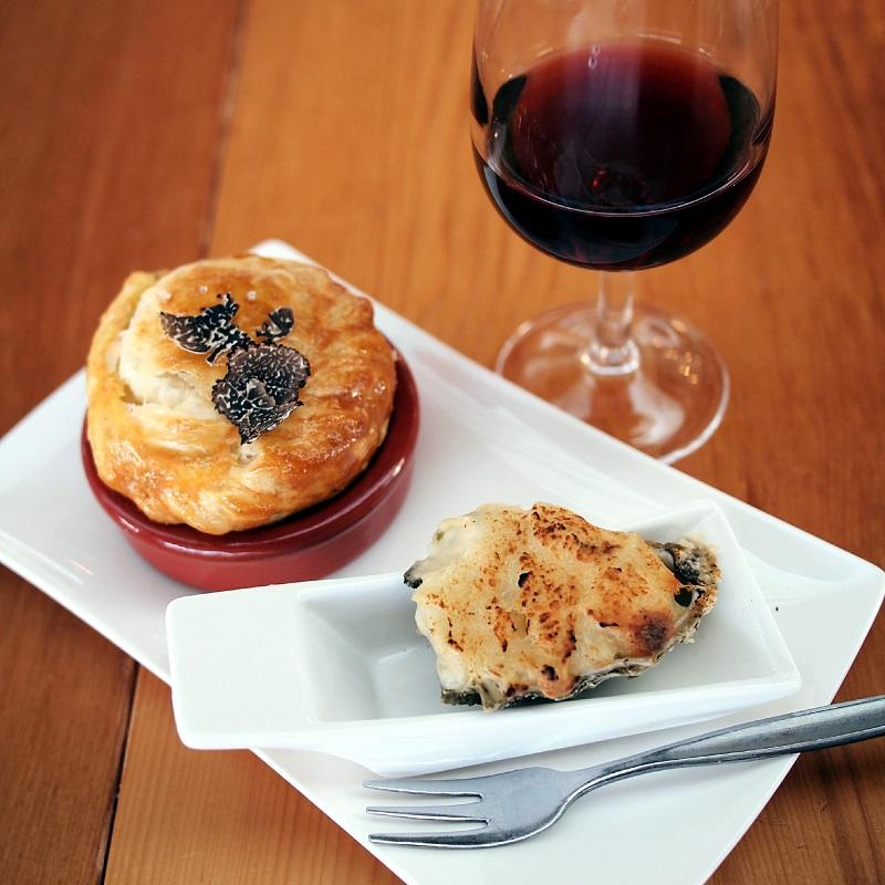 Mushroom pie, truffle morney oyster, pinot noir
