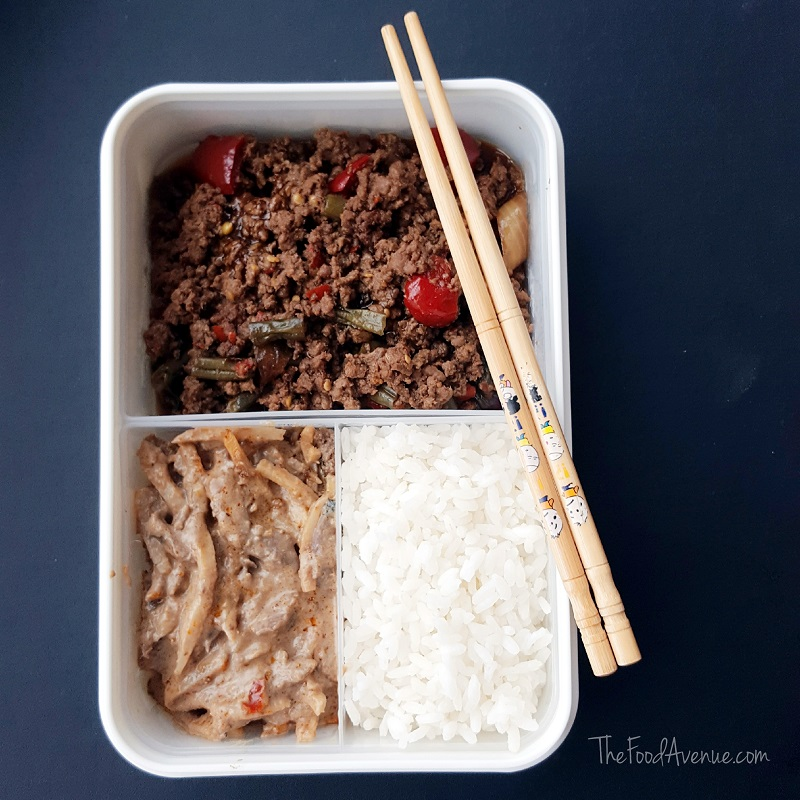 Beef and bamboo curry, spicy pork mince and rice