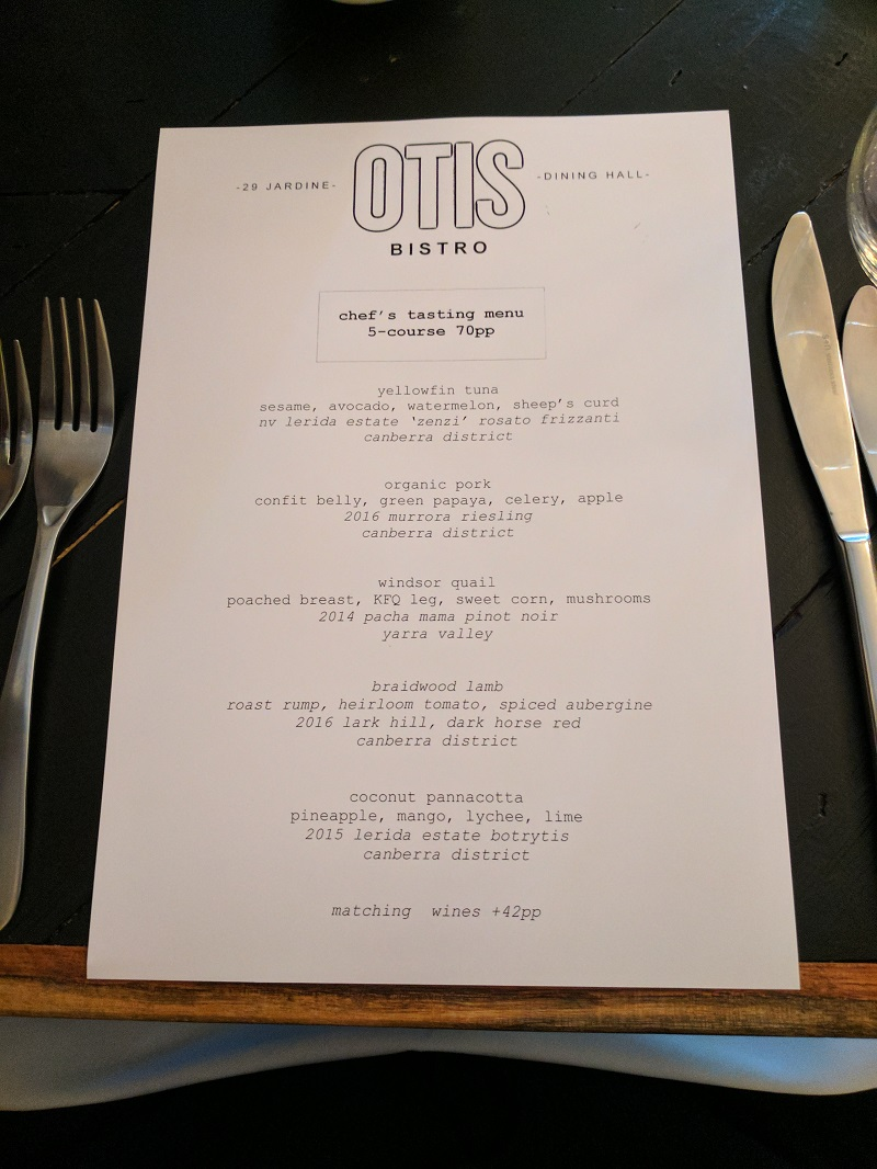 Otis chef's tasting menu